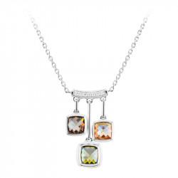 """Collier Elsa Lee Paris en """"Argent 925"""" - 3 pierres couleurs champagne, vert et prune, accompagnées de 7 oxydes de Zirconium 0,14"""