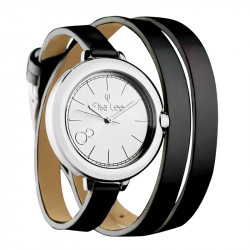 Elsa Lee Paris watch, silver case and double black leather strap