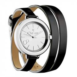 Elsa Lee Paris watch, silver case and double black leather strap