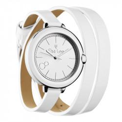 Montre Elsa Lee Paris avec cadran argent et bracelet double cuir blanc