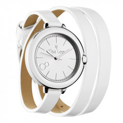 Elsa Lee Paris watch, silver case and double white leather strap
