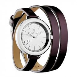 Montre en argent avec bracelet double cuir violet chez Elsa Lee Paris