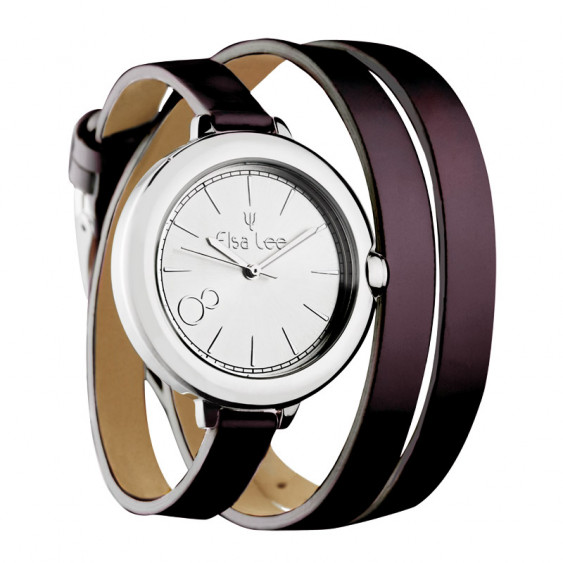 Elsa Lee Paris watch, silver case and double brown leather strap