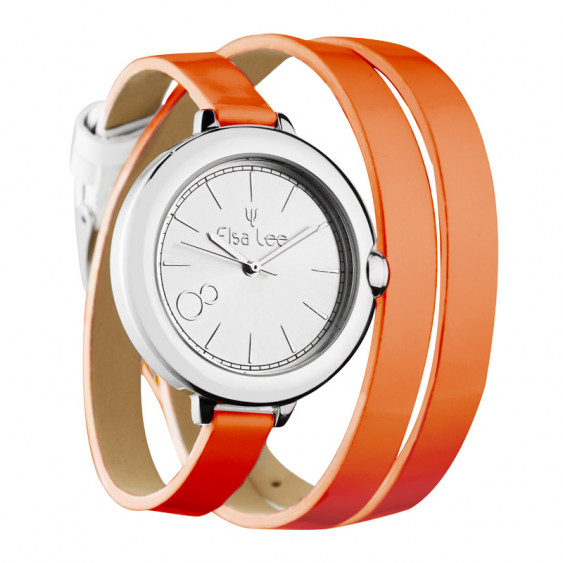 Elsa Lee Paris watch, silver case and double orange leather strap