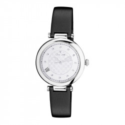 Elsa Lee Paris watch, with a silver case and a black leather strap