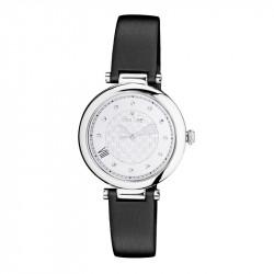 Montre classique Elsa Lee Paris, cadran argenté et bracelet cuir noir