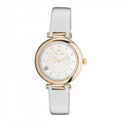 Montre classique Elsa Lee Paris dorée et avec bracelet en cuir blanc