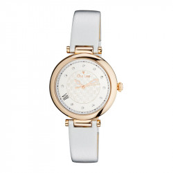 Elsa Lee Paris watch, with a silver case and a white leather strap
