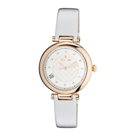 Montre rose gold cadran blanc cassé et bracelet gris clair nacré par Elsa Lee Paris