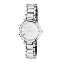 Elsa Lee Paris watch for women, with a silver case and a steel strap