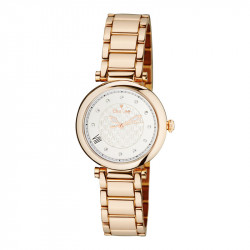 Elsa Lee Paris watch for women, with a gold-tone case and a steel strap
