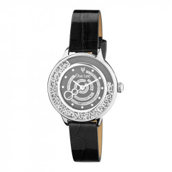 Elsa Lee Paris watch made for women, with a black dial, a silver case filled up with Cubic Zirconia and a black leather strap