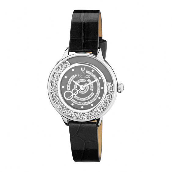 Montre Elsa Lee Paris pour femmes, bracelet en cuir à motif noir, cadran et lunettes argentés renfermant des oxydes de Zirconium
