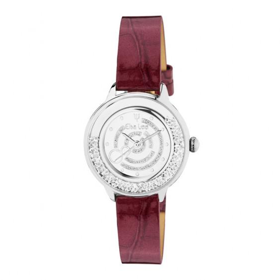 Montre Elsa Lee Paris pour femmes, bracelet en cuir à motif violet, cadran et lunettes argentés renfermant des oxydes de Zirconi