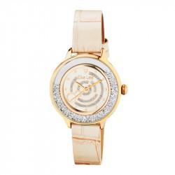 Montre Elsa Lee Paris dorée, bracelet en cuir à motif beige, cadran et lunettes dorés renfermant des oxydes de Zirconium en mouv