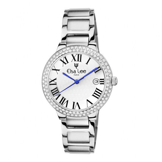 Elsa Lee Paris watch for women, with silver steel strap, silver case filled with Cubic Zirconia