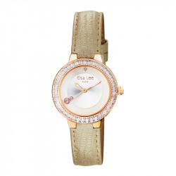 Montre classique Elsa Lee Paris, bracelet en cuir or, lunette dorée incrustée d'oxydes de Zirconium
