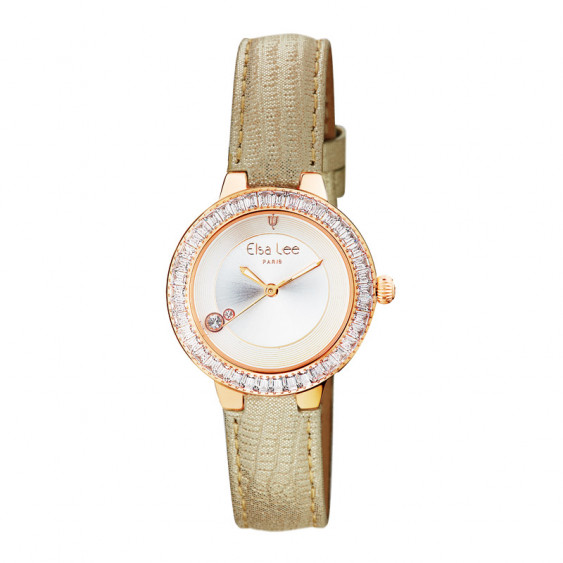Elsa Lee Paris watch with a beige lambskin strap, gold tone case with clear Cubic Zirconia