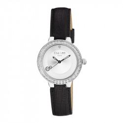 Montre lunette argent incrustée d'oxydes taille baguette et bracelet cuir noir par Elsa Lee Paris