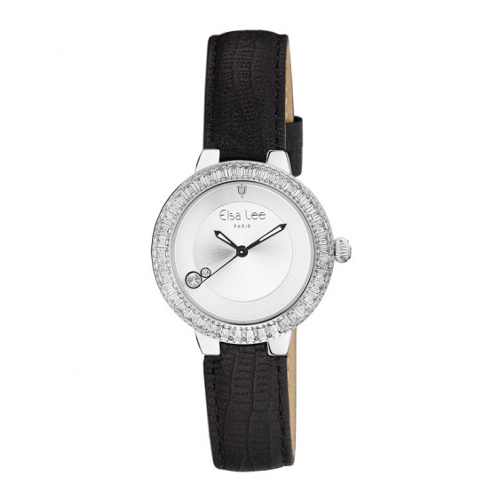 Elsa Lee Paris watch with a black lambskin strap, silver tone case with clear Cubic Zirconia