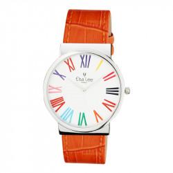 Montre Elsa Lee Paris au bracelet en cuir orange, avec cadran argenté et chiffres romains aux couleurs multiples