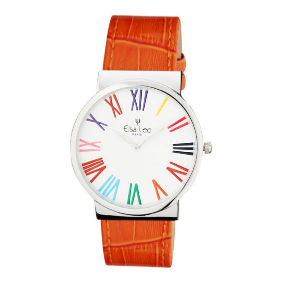 Thin orange watch with roman numerals stainless steel Elsa Lee