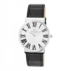 Thin watch black leather straps and roman numerals