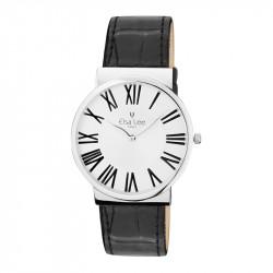 Montre Elsa Lee Paris, bracelet en cuir noir à motifs, cadran argent simple, chiffres romains noirs