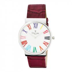 Montre Elsa Lee Paris, bracelet à motif en cuir violet, cadran simple argenté, chiffres romains aux couleurs multiples