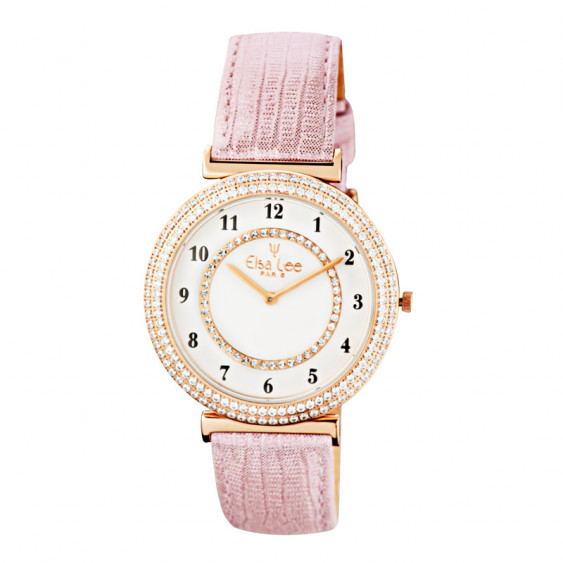 Elsa Lee Paris watch for women, gold tone case filled up with Cubic Zirconia and pink leather strap
