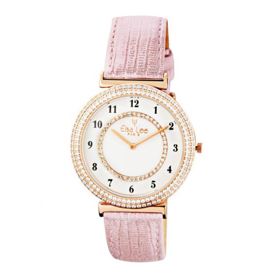 Montre Elsa Lee Paris, bracelet en cuir rose poudré, cadran doré avec oxydes de Zirconium