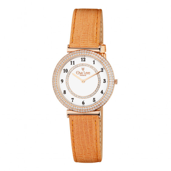 Elsa Lee Paris watch for women, gold tone case filled up with Cubic Zirconia and orange leather strap