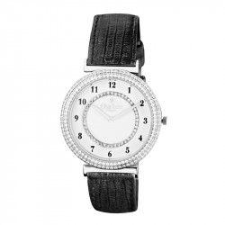 Elsa Lee Paris watch for women, silver tone case filled up with Cubic Zirconia and black leather strap