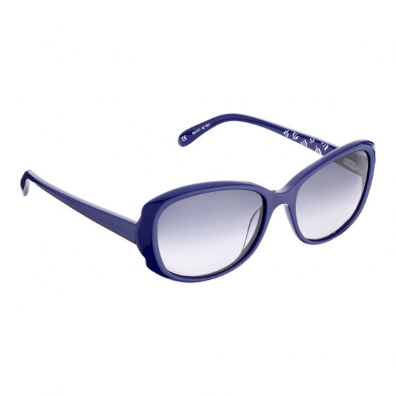 Elsa Lee Paris sunglasses, classic plastic frame in navy blue, with Elsa Lee symbol on the inside of the temples