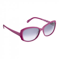 Elsa Lee Paris sunglasses, classic plastic frame in purple, with Elsa Lee symbol on the inside of the temples