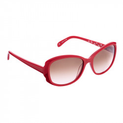Elsa Lee Paris sunglasses, classic plastic frame in red, with Elsa Lee symbol on the inside of the temples