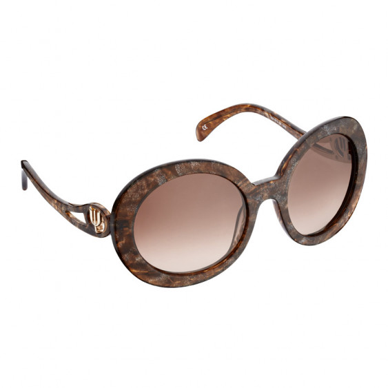 Elsa Lee Paris sunglasses, round frame made of semi-transparent sparkling brown plastic, with a gold tone symbol on the temples