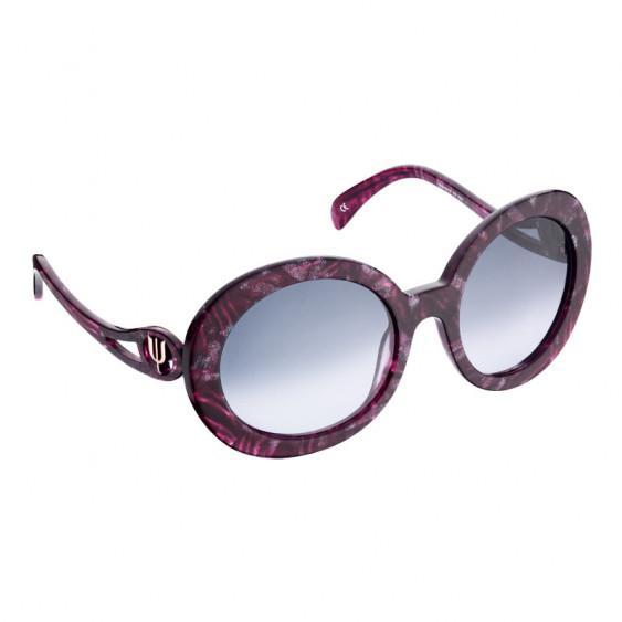 Elsa Lee Paris sunglasses, round frame made of semi-transparent sparkling fuchsia plastic, with a gold tone symbol on the temple