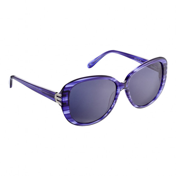 Elsa Lee Paris sunglasses, with a modern blue frame and transparent stripes