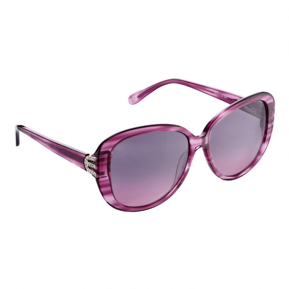 Elsa Lee Paris sunglasses, with a modern purple frame and transparent stripes