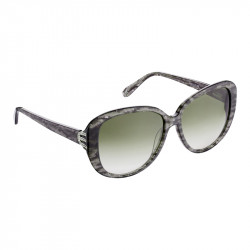 Elsa Lee Paris sunglasses, with a modern brown frame and transparent stripes