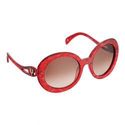 Elsa Lee Paris sunglasses, round frame made of semi-transparent sparkling red plastic, with a gold tone symbol on the temples