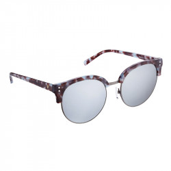 Elsa Lee Paris sunglasses, modern semi rimless frame made of plastic and metal in blue and brown