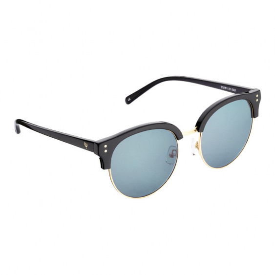 Elsa Lee Paris sunglasses, modern semi rimless frame made of plastic and metal in black and gold