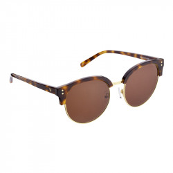 Elsa Lee Paris sunglasses, modern semi rimless frame made of plastic and metal in gold and brown, brown lenses