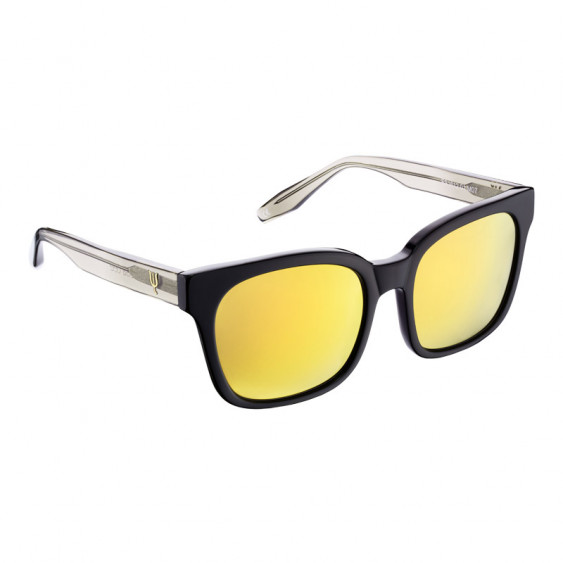 Elsa Lee Paris sunglasses, modern square frame made of black plastic, yellow lenses and transparent temples