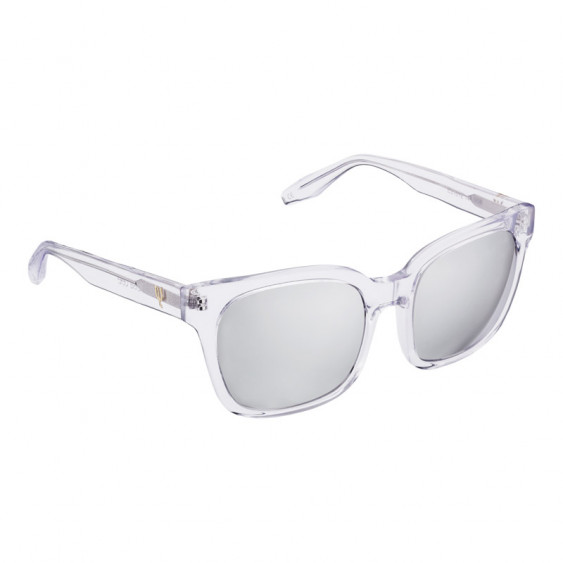 Elsa Lee Paris sunglasses, modern square frame made of transparent plastic, grey lenses