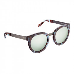 Elsa Lee Paris vintage sunglasses, round plastic frame in brown and blue with gold tone symbol on temples