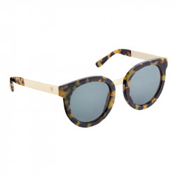 Elsa Lee Paris vintage sunglasses, round plastic frame in black and green with gold tone symbol on temples