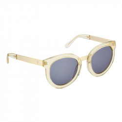 Elsa Lee Paris vintage sunglasses, round transparent plastic frame, with gold tone symbol on temples